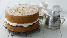 Watch our step-by-step recipe for the perfect Victoria sponge filled with softly whipped cream and strawberry jam.