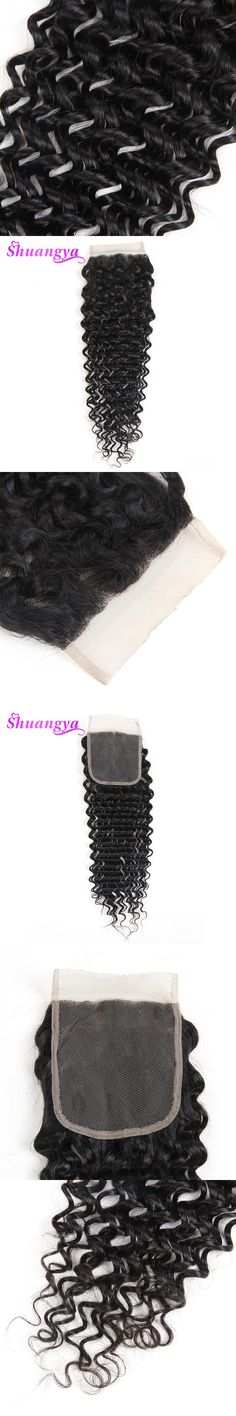 "Shuangya Hair Brazilian Deep Wave 100% Human Hair lace Closure Free Part 4*4 swiss lace Natural Color 10""-20"" Non remy hair"