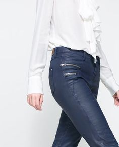 Image 4 of COATED TROUSERS WITH ZIPS from Zara