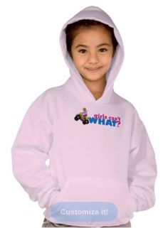 Girls' Hanes ComfortBlend® Hoodie Enjoy winter weather with the Hanes ComfortBlend® Hooded Sweatshirt. Features double-needle stitched neckline armholes and bottom band, kangaroo pocket, and 50/50 cotton poly blend (100% cotton face) fabric. No hood drawcord. Fits true to size. http://www.girlscantwhat.com/girls-gift/atv-four-wheeler/   #girlscantwhat #girlpower #atv #shirthoodie