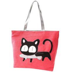 Special Cartoon Cat Fish Canvas Handbag Preppy School Bag for Girls Women s  Handbags Shopping bag Cute Shoulder Tote Handbags 22a98d103772