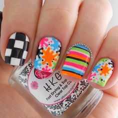 checker splatter and stripe neon nail art Instagram photo by @lifeisbetterpolished via ink361.com