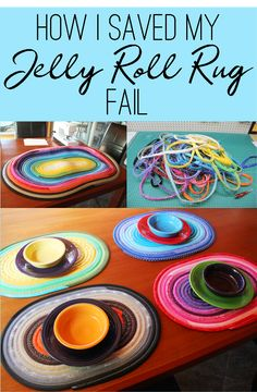 Roll Rug Turned Placemats How I Saved my Jelly Roll Rug Fail on How I Saved my Jelly Roll Rug Fail on Sewing Patterns Free, Free Sewing, Jelly Roll Projects, Jelly Roll Quilt Patterns, Patchwork Patterns, Sewing To Sell, Jellyroll Quilts, Leftover Fabric, Sewing Projects For Beginners