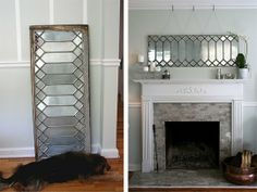 I'm loving this!  It will be a great solution for the little window whose backside is getting enclosed in the new closet!  We've also got a couple of other old multiple-paned windows that would be beautiful silvery mirrors!