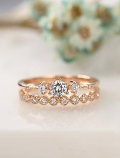 Moissanite engagement ring rose gold Vintage Diamond wedding ring set Dainty antique Brilliant Bridal Jewelry Half eternity Promise gift Description: - Vintage style diamond ring - Natural Conflict free diamonds. - comfortable band Moissanite Carat: 0.25CT (Forever Brilliant) Natural