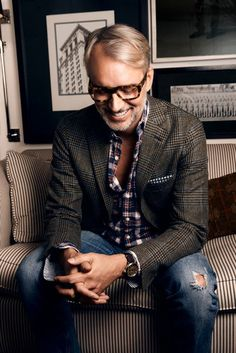 Style tip for wearing a sport coat with jeans: be Michael Bastian.