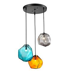 JiaYouJia Coloured Glass 3-Light Pendant Light Lamp with Ceiling Fixture (Round Canopy)