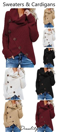 efdafabf416 Five Buckle High Collar Pullover Solid Color Women s Sweater.Extra 12% off  code