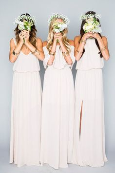 Bridesmaid Gowns The Mumu Wedding Collection - The Wedding Chicks - Show Me Your Mumu is best known for reinventing the traditional mu'u mu'u for modern girls, their effortlessly chic and versatile dresses, tops, Trendy Wedding, Perfect Wedding, Dream Wedding, Wedding Simple, Formal Wedding, Cream Bridesmaids, Beach Bridesmaids, Bridesmaid Gowns, Bridesmaid Dresses Mismatched Boho