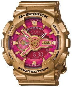 G-Shock Women's Analog-Digital Gold-Tone Resin Strap Watch 49x46mm GMAS110GD-4A1