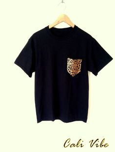 Mens TShirt / Leopard Print Pocket Tee / Black Shirt by CaliVibe, $18.00