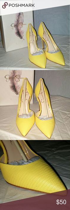 """Jessica Simpson Claudette Yellow Heels Adorable shoes!!  4"""" heel Color is sour lemon with a bright lizard print These shoes are new in box, but there is a tiny black spot on the inside for. It is pictured in the 3rd picture.   Thanks for looking and don't forget to bundle and save 15%!! Jessica Simpson Shoes Heels"""