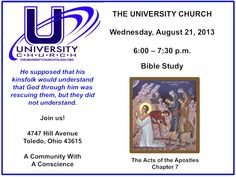Bible Study at The University Church on Wednesday, August 21, 2013.