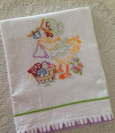 Flour Sack Hand-Embroidered Towel  Spring by AllSylviasCreations