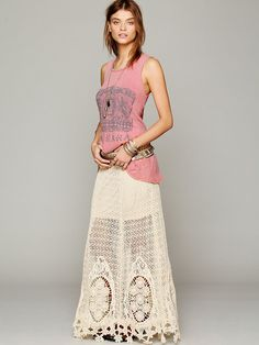 Free People Mi Amore Maxi Skirt  Def. wouldn't wear this with the tank they put with it but really pretty skirt.