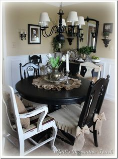 Love the white chairs with the black and burlap table dressing