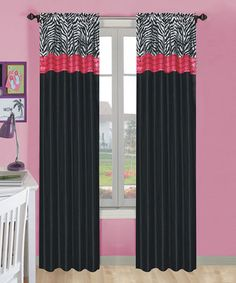 Love This Pink Black Zebra Curtain Panel Set Of Two On Zulily