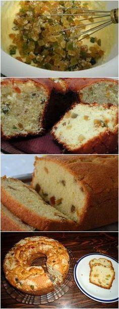 BOLO COM FRUTAS CRISTALIZADAS,FICA MARAVILHOSO!! VEJA AQUI>>>Envolva as frutas cristalizadas em aproximadamente 01 colher de sopa de farinha de trigo para que não afundem na massa. Reserve #receita#bolo#torta#doce#sobremesa#aniversario#pudim#mousse#pave#Cheesecake#chocolate#confeitaria