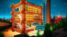 Easy Minecraft: UnderWater House Tutorial - How to Build a House in Minecraft Minecraft Building Guide, Minecraft Houses Survival, Minecraft House Tutorials, Minecraft Tutorial, Minecraft Creations, Minecraft Projects, Minecraft Designs, Minecraft Stuff, Minecraft Ideas