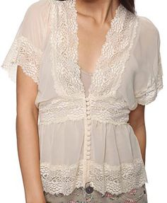 $13.80 Lace Chiffon Top = pretty & affordable.  My favorite combination!