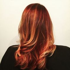 Trends 2018 - Red Hair Color : We love a fiery red gold with long layered waves. This one by Establishment WI s... #Red https://inwomens.com/2018/02/11/trends-2018-red-hair-color-we-love-a-fiery-red-gold-with-long-layered-waves-this-one-by-establishment-wi-s/
