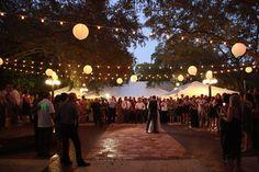 Canopy of Lights at the wedding Ybor City Museum Garden.