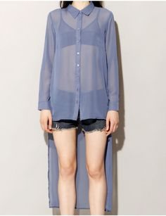 Periwinkle chiffon shirt from Pixie Market - A color not often available and very calming; polyester chiffon floats with a very sheer effect over the body. This would be a great layering piece over both fabrics much lighter or darker.
