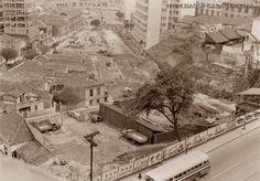 Inicio de construção da 23 de Maio (Av. Itororó) junto à pça da Bandeira, ao fundo - 1952