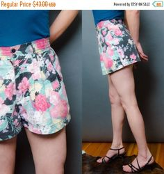 20% OFF SALE Floral Shorts 80's Pleated High Waist Skort Style Medium Women's Vintage Pop Culture Boho Shorts by HankAndGeorge on Etsy https://www.etsy.com/listing/226148069/20-off-sale-floral-shorts-80s-pleated