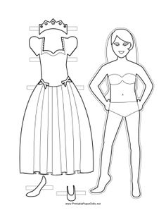 This long-haired, free, printable Princess Paper Doll has an elegant short-sleeved dress with ribbons on the skirt and a crown set with jewe. Fashion Dolls, Fashion Dresses, Paper Dolls Printable, Vintage Paper Dolls, Doll Patterns, Free Printable, Doll Clothes, Crafts For Kids, Dresses With Sleeves