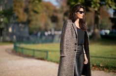 #streetstyle #fashionweek #leopard #print #coat #leather #skirt