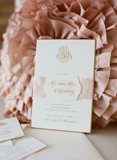 Beautiful, Traditional Wedding Invitation with Duogram in Gold and Gold Edging Photography: Liz Banfield