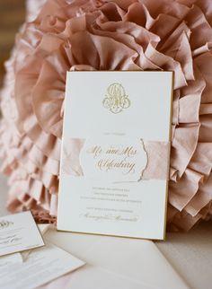 Wedding invitations by Paperista | Beautiful Wedding On SMP: http://www.StyleMePretty.com/midwest-weddings/2014/03/14/classic-pink-blush-wedding/ Photography: Liz Banfield
