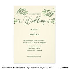 Olive Leaves Wedding Invitation Designed to coordinate with our Olive leaves wedding collection, this elegant olive leaves invitation card features accents of olive leaves on the front with your names and wedding information in green lettering. An elegant rustic wedding invitation. *Fully customizable with your information.