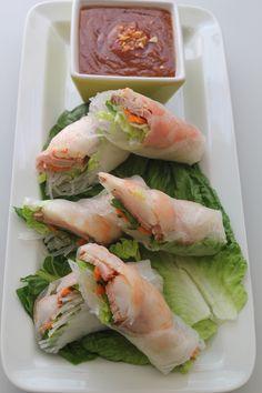 Pork And Shrimp Spring Roll (goi Cuon) With Peanut Sauce (nuoc Leo)