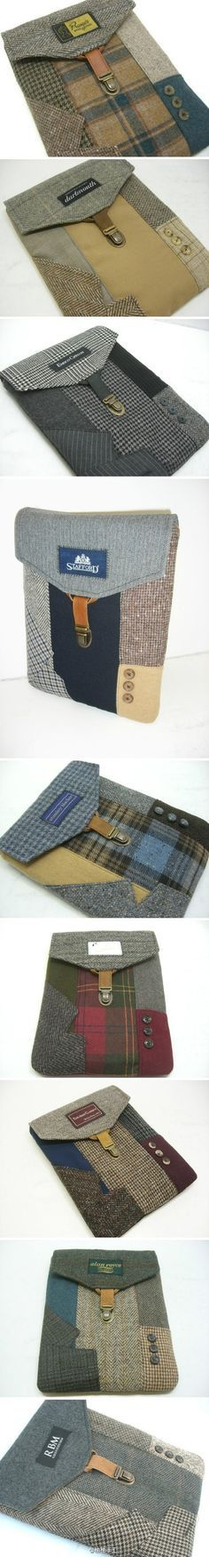 ipad or notebook cover, use scraps of wool fabric. No pattern, but I like the look.