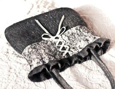 Nuno Felted Bag with Lace and Ribbon Black Cream by frenchfelt, €62.00