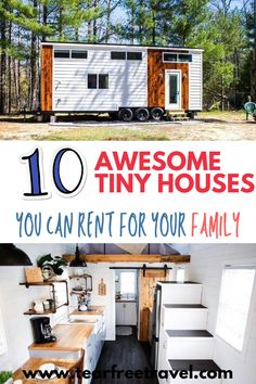 These family-friendly tiny houses are the some of the best places to rent for your next vacation. These tiny house rentals are a perfect way to enjoy spending time with kids in a unique setting. Many of these tiny houses are located in beautiful settings. Best Family Vacation Spots, Family Vacation Destinations, Family Vacations, Family Travel, Nyc With Kids, Travel With Kids, Toddler Travel Bed, Tiny House Rentals, Bucket List Family