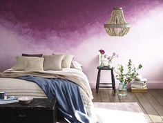2017 colour trends - purple haze: 'For an original way to introduce vibrancy to your bedroom scheme, apply rich Meadow Violet over a coat of paler Kingly Grey. Sponge downwards so the colours mingle together. Finish off with rustic furniture, neutral tones and relaxed bedding.' - Rebecca Craig, Sanderson. Find more paint and colour inspiration at housebeautiful.co.uk