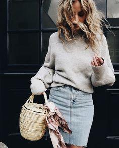 Denim pencil skirt + heather grey sweater.