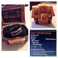 World of Warcraft Weding Ring papercraft box and stat card