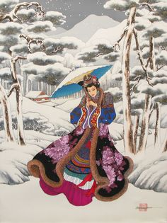 Chinese brush painting. Winter Reverie - Ching Dynasty Collection