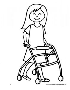 A line drawing of a Primary girl pushing another girl in a