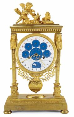 Duodecimal clock hours and decimals, days of the week and of the decade, calendars and moon faces Philippe-Jacques CORNIQUET, master watchmaker in 1785 Paris, circa 1794 Gilt bronze ; enamel dial