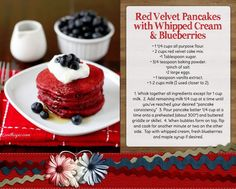 4th of july breakfast Red Velvet Pancakes