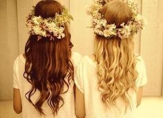 Blonde and brunette girls with flower wreaths in their hair. #PANDORAloves #friends