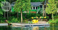 Casinha colorida: Uma cabana verde fantástica