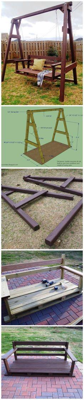 Wie man ein Hinterhof-Schaukel-Set baut – Your Backyard – Diy Backyard Backyard Projects, Outdoor Projects, Home Projects, Outdoor Decor, Backyard Ideas, Porch Ideas, Backyard Furniture, Backyard Games, Furniture Plans