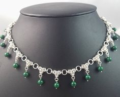Beaded Byzantine Spike Chainmaille Necklace Sterling Silver