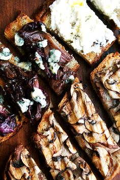3 Simple Tartines, Plus Oscar-Night Fare // Seasoned with nothing more than a little olive oil and sea salt, these mushroom toasts made the most satisfying lunch, and later that evening, when sliced into strips, a simple and light hors d'ouevre. A little truffle oil, if you have it, really heightens the deliciousness. // @alexandracooks